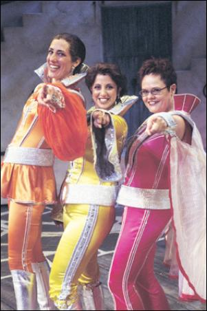 Donna's Dynamos: From left to right: Tanya (Jennifer Vuletic), Donna (Silvie Paladino), Rosie (Emma Powell)
