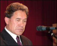Scoop Image: New Zealand First leader Winston Peters pictured delivering his immigration policy at Orewa, May 27 2005