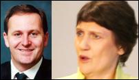 John Key (left), Helen Clark (right).