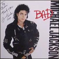 A fan's autographed copy of Michael Jackson's 'Bad'