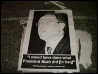 Scoop Image: Posters are appearing all over Wellington hitting out at Brash on his Foreign affairs stance.