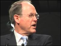 Scoop Image: Don Brash in full flight at National's campaign launch.