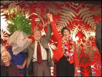 Scoop Image: Helen Clark and husband Peter Davis on Election Night Sept 17 2005.