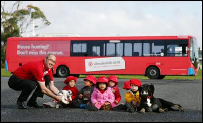 Children hop aboard the new address in property allrealestate.co.nz