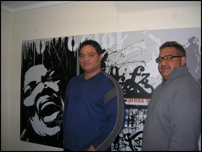 John Biddle and Greg Whaiapu with new mural at SoundHouse, Otara Music Art Centre