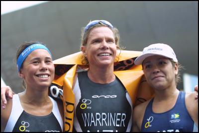 (L-R) Andrea Hewitt, Samantha Warriner and Marina Ohata (Brazil) on the podium at Salford.