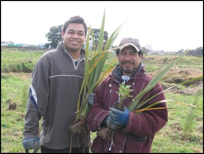 Valentine Willis and Max Makianu at the Wai Care community planting day
