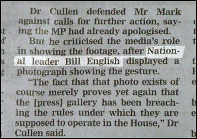 Reference to 'National leader Bill English' from The Dominion Post, 3 August 2006