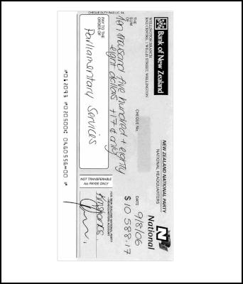 National Party cheque for spending outside rules