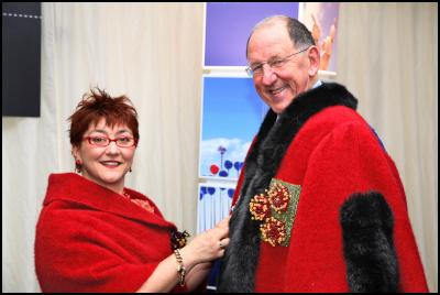 The Mayor's New Robes: AUT design student Michelle Boyes with Mayor Dick Hubbard and her take on the Mayoral robes
