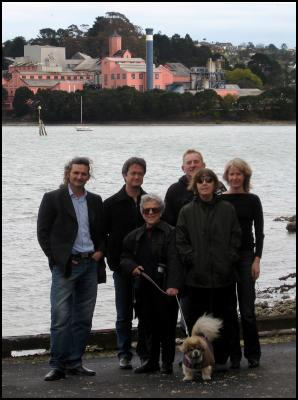 The iconic Auckland view under threat ... Chelsea Sugar Refinery. And members of the Birkenhead Residents Association, from left: Brendon De Silva, Harvey White, Heather Nicholson, Dougall Love, Carol Scott, and Lorraine Steele.