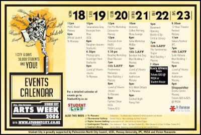Student City Arts Week  Timetable