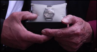 Willem Paalberends holds the treasured watch the belonged to New Zealander Flight Sergeant Glen Smith.