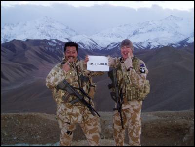 Members of the Provincial Reconstruction Team in Afghanistan Major Anthony Childs and Captain Kerrin Connolly show off their moustaches.