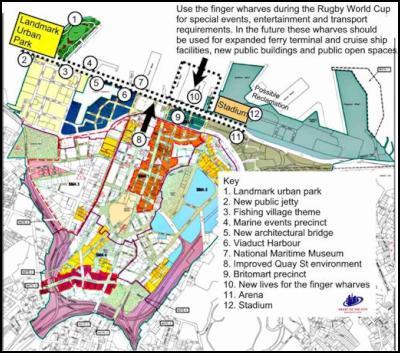 proposed location of the stadium and landmark urban park