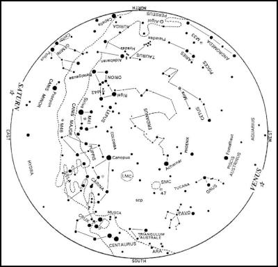 the sky as it appears at about 22:00 for ~January 15