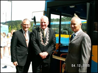 Left to Right Ross Martin CEO Infratil Public Transport, His Worship the Mayor George Wood, John Taylor, Manager North Star.