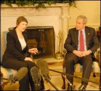 Helen Clark and George Bush at the White House oval office.