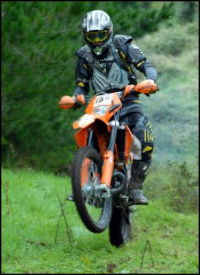 Auckland's Chris Birch (KTM), on his way to overall victory on Saturday. Photo by Andy McGechan, BikesportNZ.com