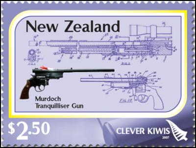 Clever Kiwi Stamps: $2.50 – Tranquiliser gun – Colin Murdoch's tranquiliser gun has saved countless animals since its invention in the late 1950s.