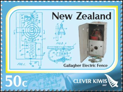 Clever Kiwi Stamps: 50c – The electric fence – invented by Bill Gallagher and launched in 1969
