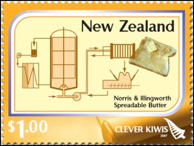 Clever Kiwi Stamps: $1.00 – Spreadable butter – developed in the 1970s by the New Zealand Dairy Research Institute