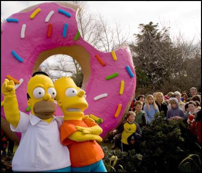 homer, bart, donut