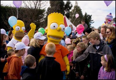 homer, bart, balloons