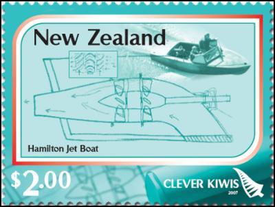 Clever Kiwi Stamps: $2.00 – Hamilton Waterjet – inventor Bill Hamilton was knighted for his services to manufacturing in 1974