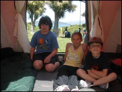 Matiu/Somes Island campers Fin Baker and Morgan Baker from Lower Hutt, Simon Penfold from York Bay