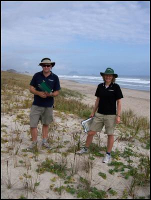 Chris Bycroft (senior ecologist) and Sarah Beadel (senior ecologist) from Wildlands Consultants