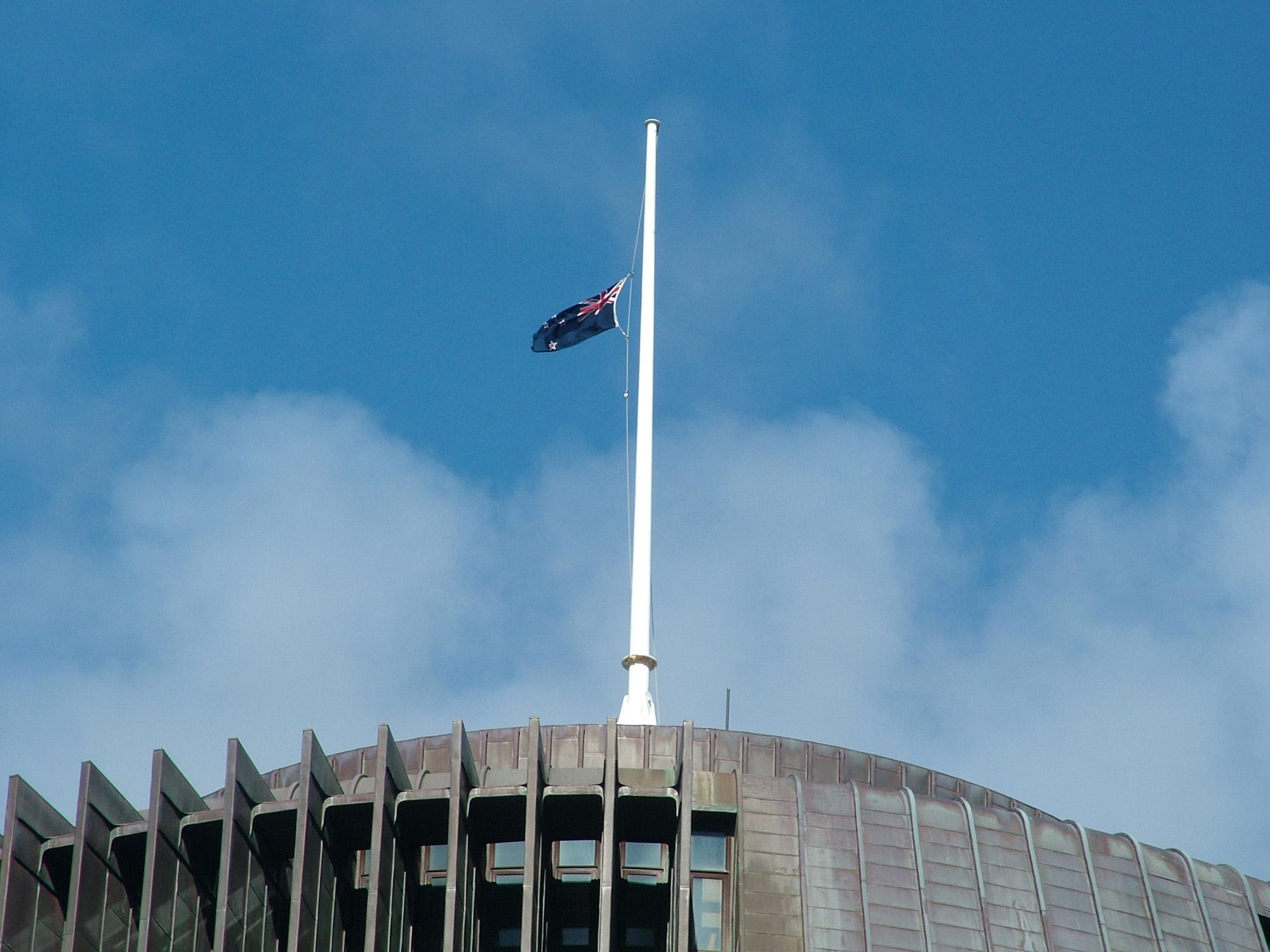Images: Flags At Half Mast For Sir Ed | Scoop News