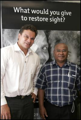 Michael Jones and The Fred Hollows Foundation NZ's top Pacific Eye Surgeon, John Szetu are campaigning to restore sight in the Pacific.
