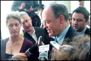 Don Brash faces the media after the release of the Holow Men