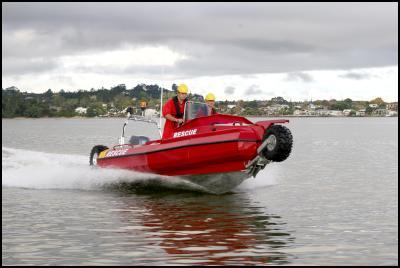 The Sealegs amphibious aluminium rescue boat