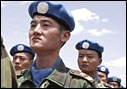 Newly arrived Chinese engineers stand at attention in UNAMID Supercamp, Nyala