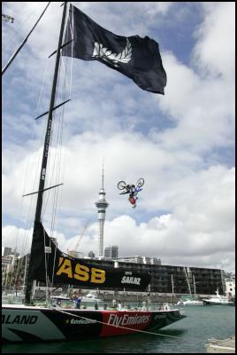 NZ Crusty Demon Luke Smith Back Flips Over America's Cup Sailing Yacht