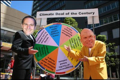 John Key, Rodney Hide play Climate Change Roulette