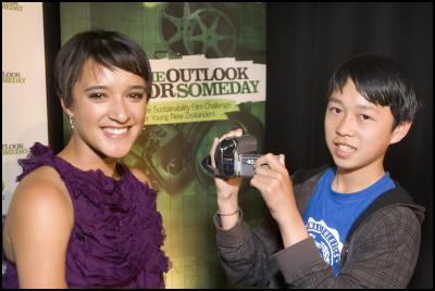 Special Award Winner Calvin Sang with Keisha Castle Hughes at The Outlook for Someday Award