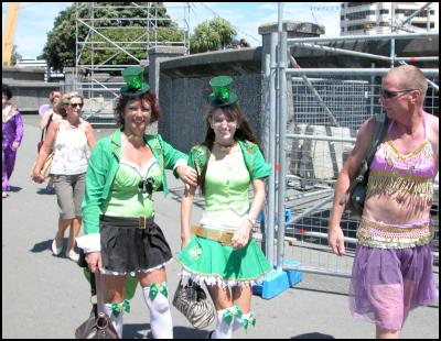 irish, belly dancer, wellington international rugby sevens costumes