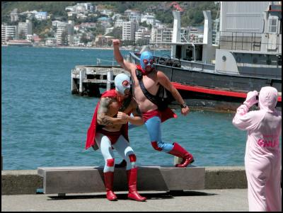 wrestlers, wellington international rugby sevens costumes