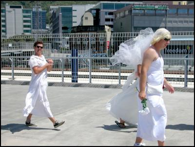 cross-dressing brides, wellington sevens costumes