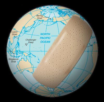 band aid on globe
