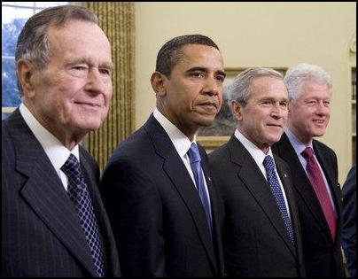 Bush Senior, Bush Jr, Obama, Clinton. Image: The White House. See... http://www.scoop.co.nz/stories/WO0901/S00228.htm
