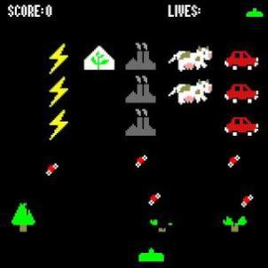 a space invaders a game where the attacking ships are carbon dioxide sources shooting CO2 molecules
