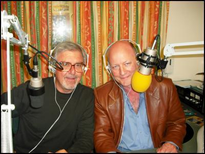 Nic Pegg and Ken Ellis in the studio
