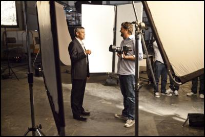 behind-the-scenes images from Nespresso shoot: George Clooney with photographer Sam Jones