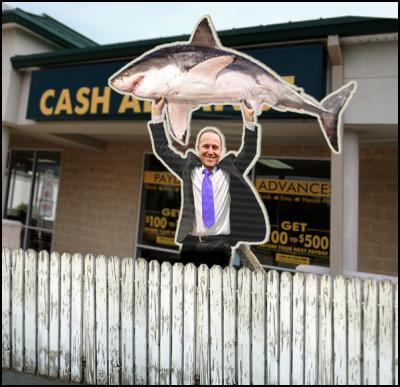 loansharks rules. NZ Prime Minister John Key holding a shark.