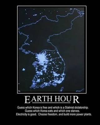 north korea at night compared to south korea. Compare it to free South Korea