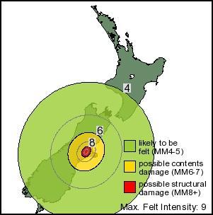 christchurch earthquake 4 september 2010 Isoseismal Map
